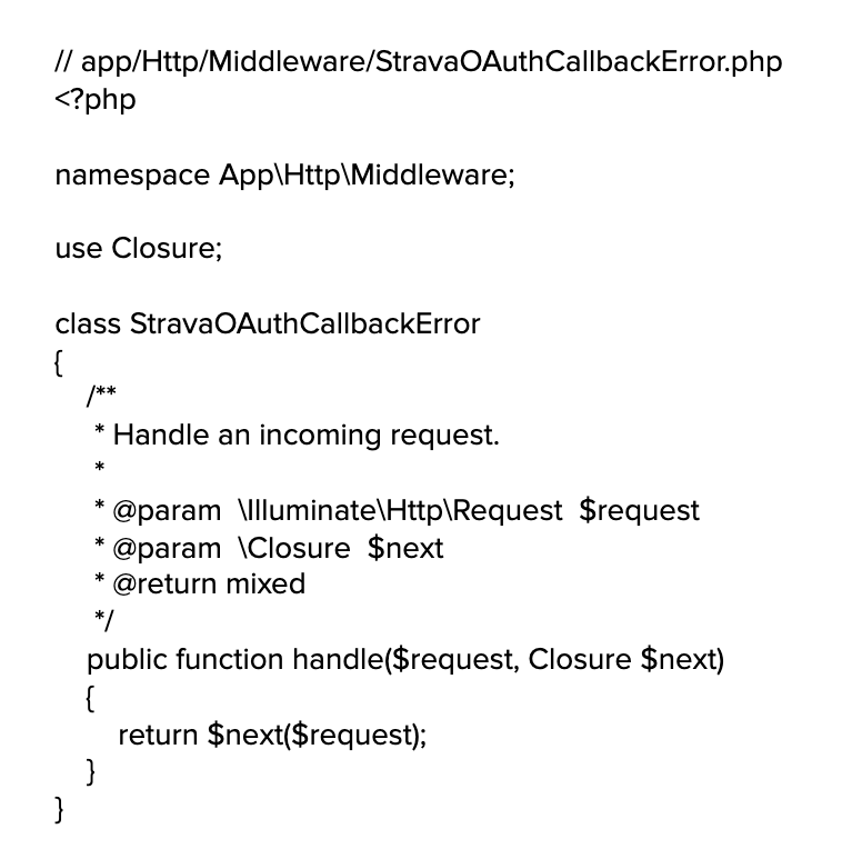 An example of the code required