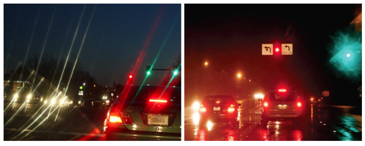 Two separate images side by side of a cars in traffic. The left is significantly blury compared to the right image.