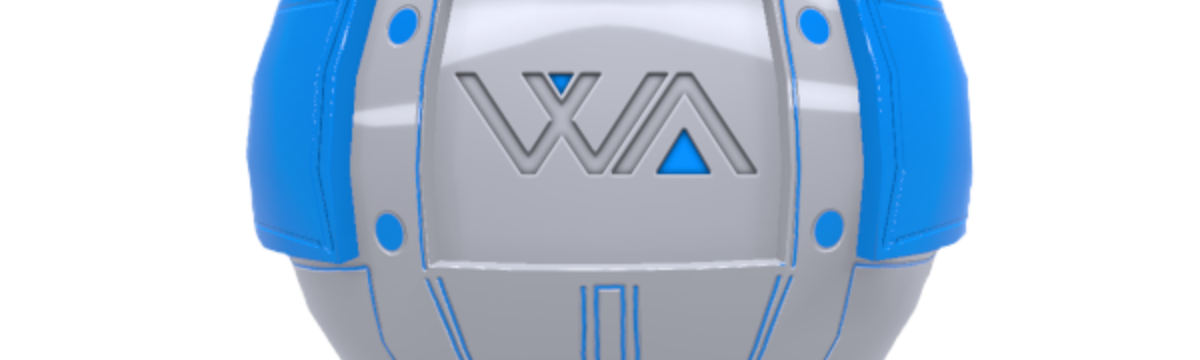 """waSCC project mascot, a spherical robot with the letters """"W"""" and """"A"""" on its chest"""