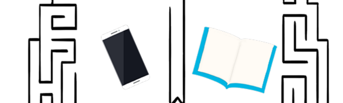 Illustration of a brain maze with a phone on the left and a book on the right.