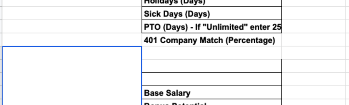 A screenshot of the total compensation spreadsheet