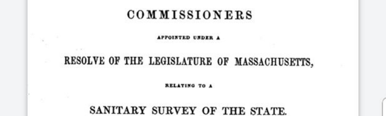 A scan of the original title page for Lemuel Shattuck's 1850 Report of the Sanitary Commission of Massachusetts
