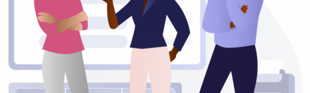 Illustration of three faceless people of color talking in an office environment