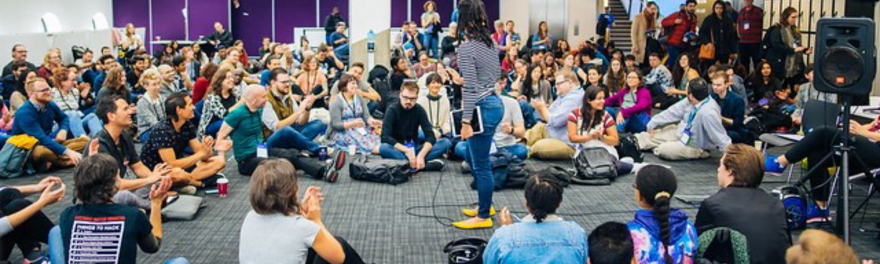 Facilitators gathered together for orientation at MozFest 2018.