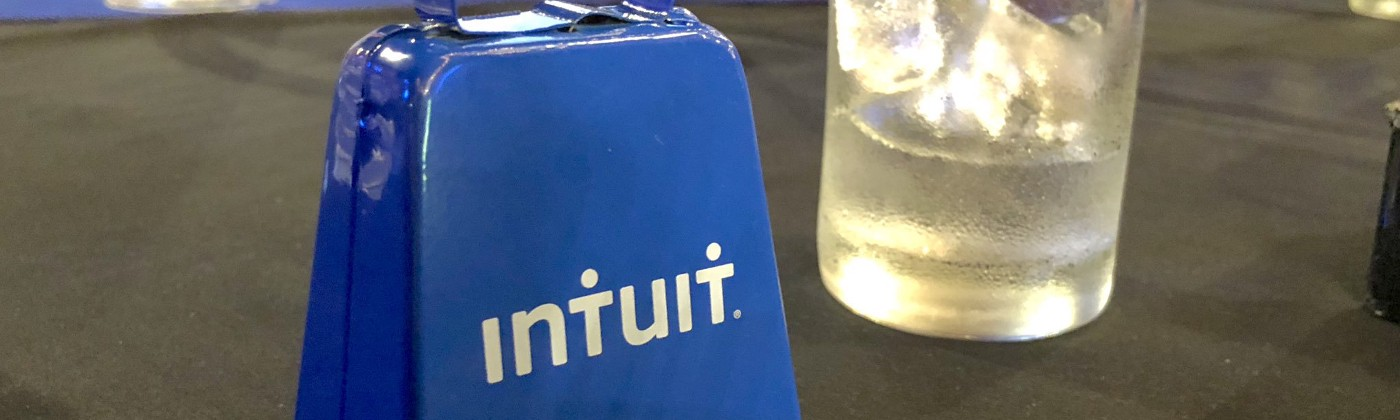 Blue Intuit cowbell