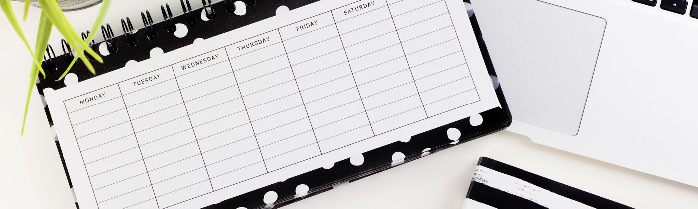 Horizontal planner with laptop keyboard in black and white