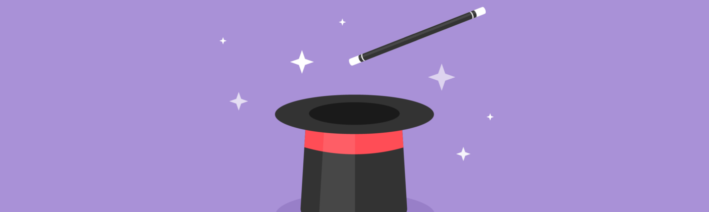 Illustration of an upside-down top hat with a magic wand above it, and sparkles.