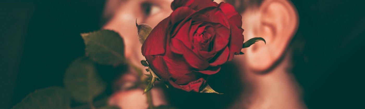 Photo of a man with a red rose between his teeth staring off longingly into the distance.