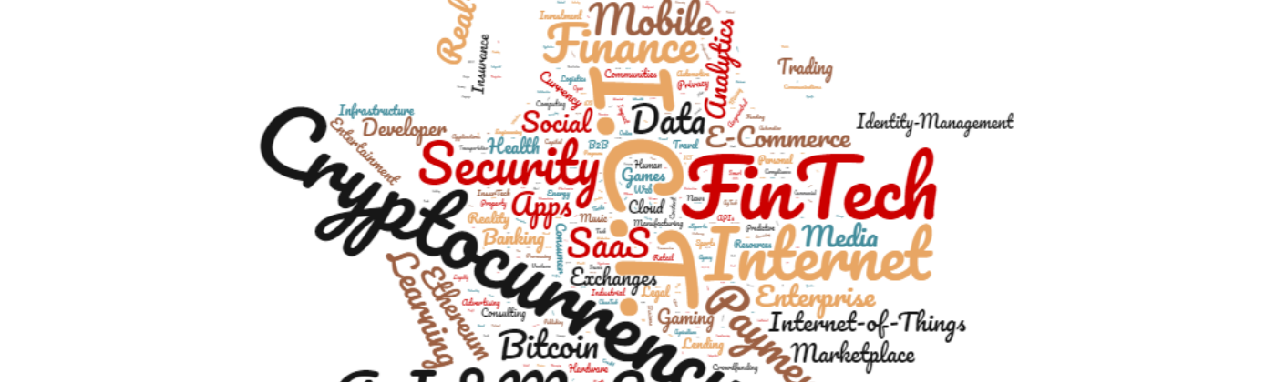 A word cloud depicting the frequency of categories that blockchain startups are operating within