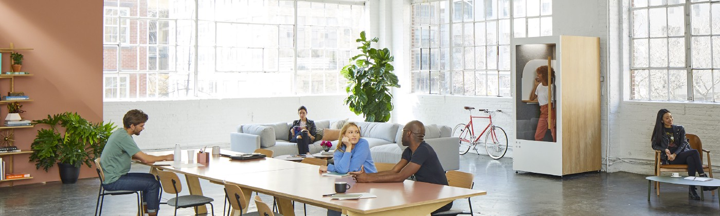 open office with people at table