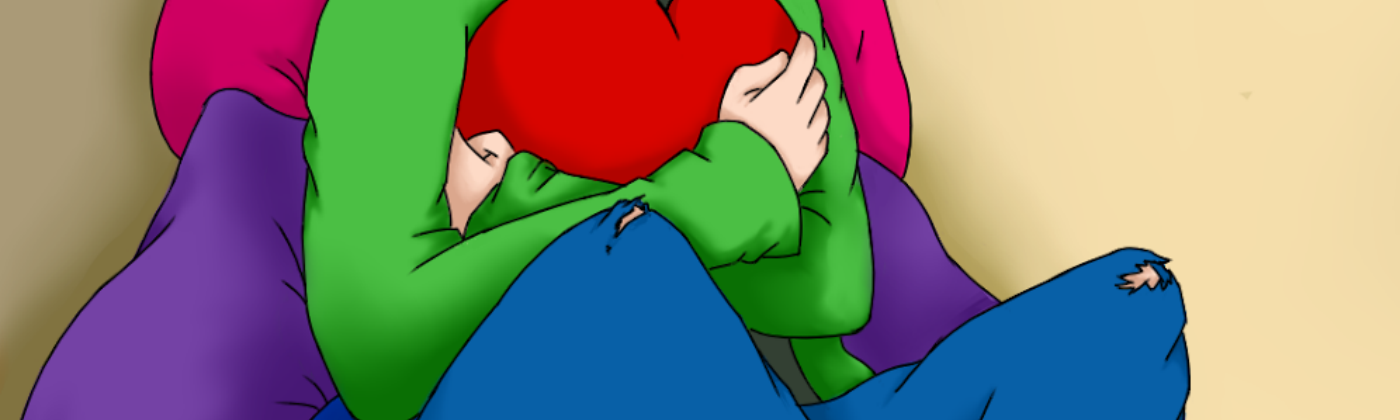 Artwork of woman hugging a red heart sat on cushions coloured in the Bisexual flag — pink, purple, blue.