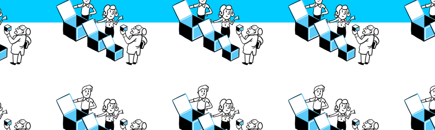 Illustration showing people opening a box just to find another box inside, until the smallest box is found.