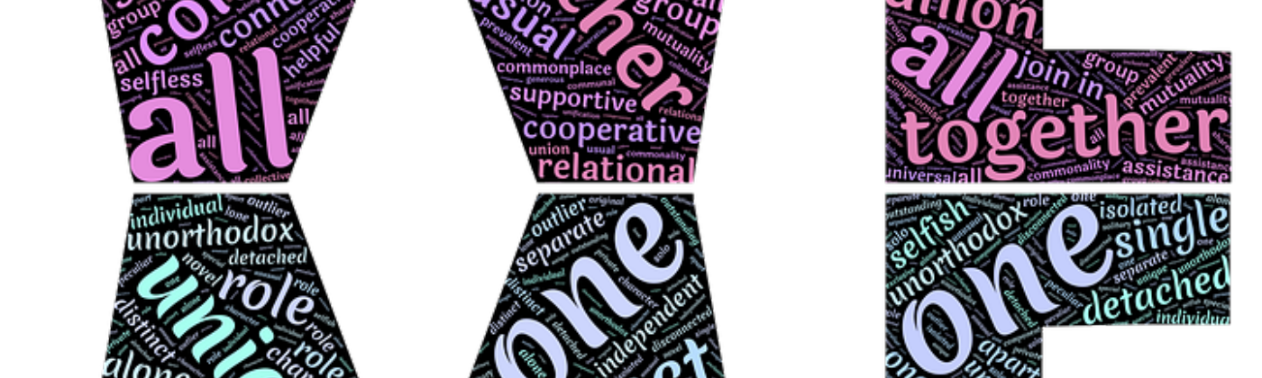Word cloud involving retrospective in the shape of word WE on top and a mirror image of WE below.