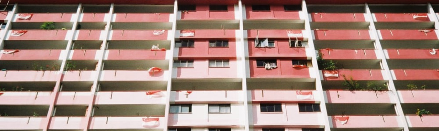 HDB building with national flags in Singapore