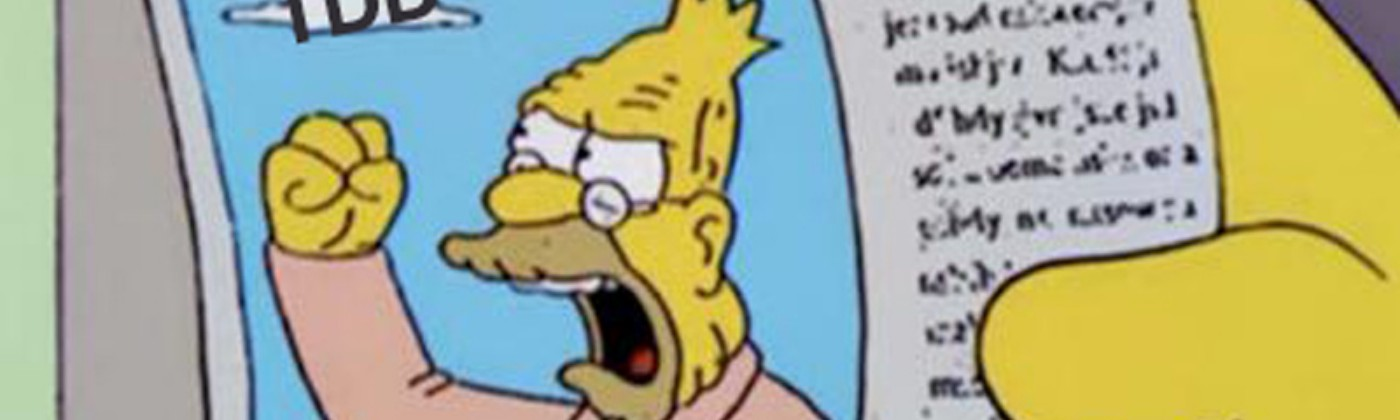 """Abe simpson shouting at a cloud labeled """"TDD"""" while a headline reads """"Dev yells at coding style."""""""
