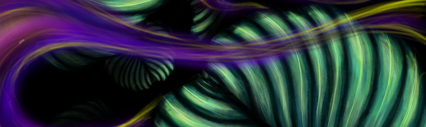 [[mage description: Digital drawing of purple, yellow and pink smoke flowing through broad green leaves]