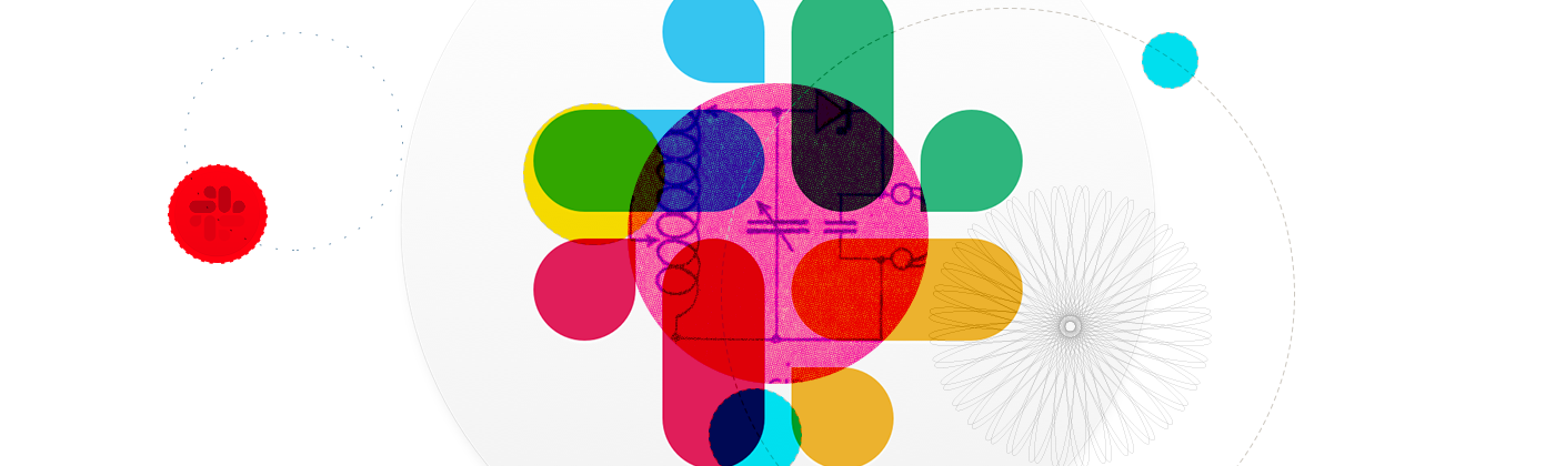 An abstract design featuring the Slack app icon and other colors, shapes and patterns