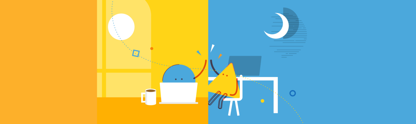 illustration show 2 people working across 2 timezones connecting via a high five
