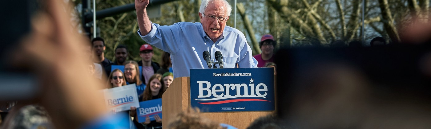Democratic candidate for president Bernie Sanders at a campaign rally