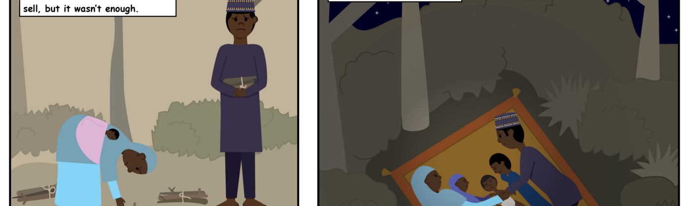 Illustrated story of Zainab, displaced from her home in Borno with her husband and three children.