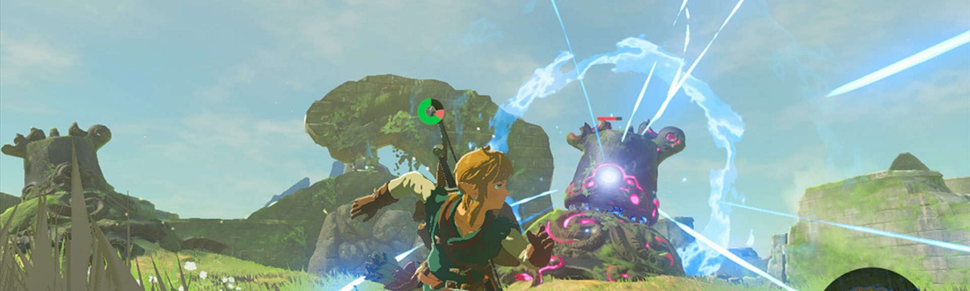 A picture of Link running away from an activated guardian that is ready to attack him with a powerful energy blast.