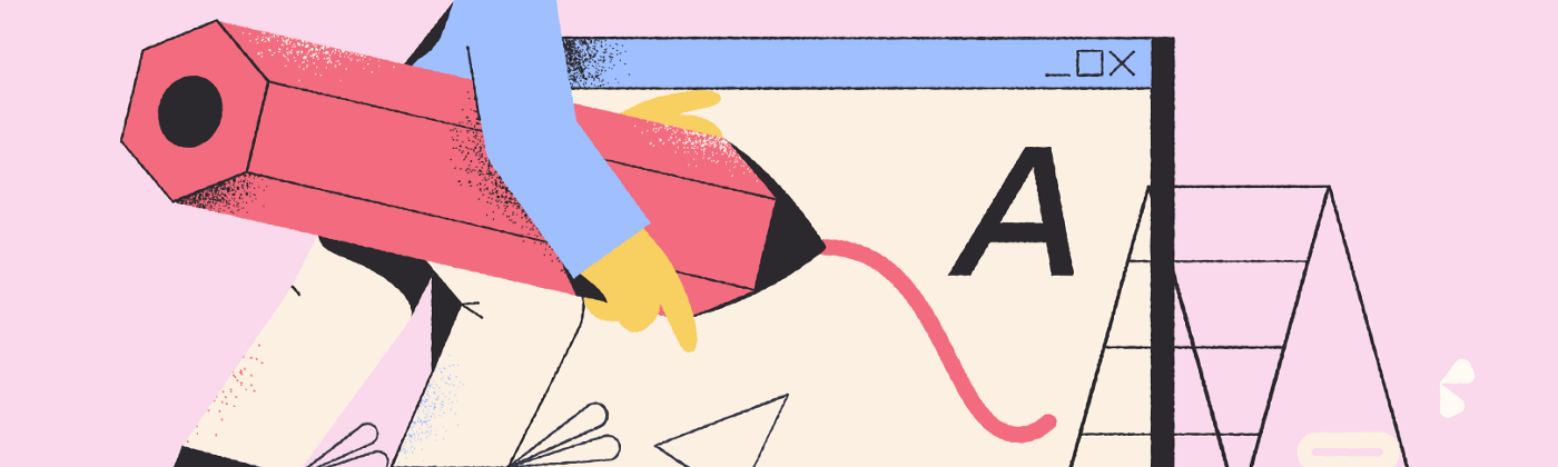 abstract illustration of a designer using a big pencil to design a screen