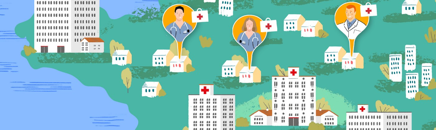 Cartoon from Airbnb showing hospitals on a map.