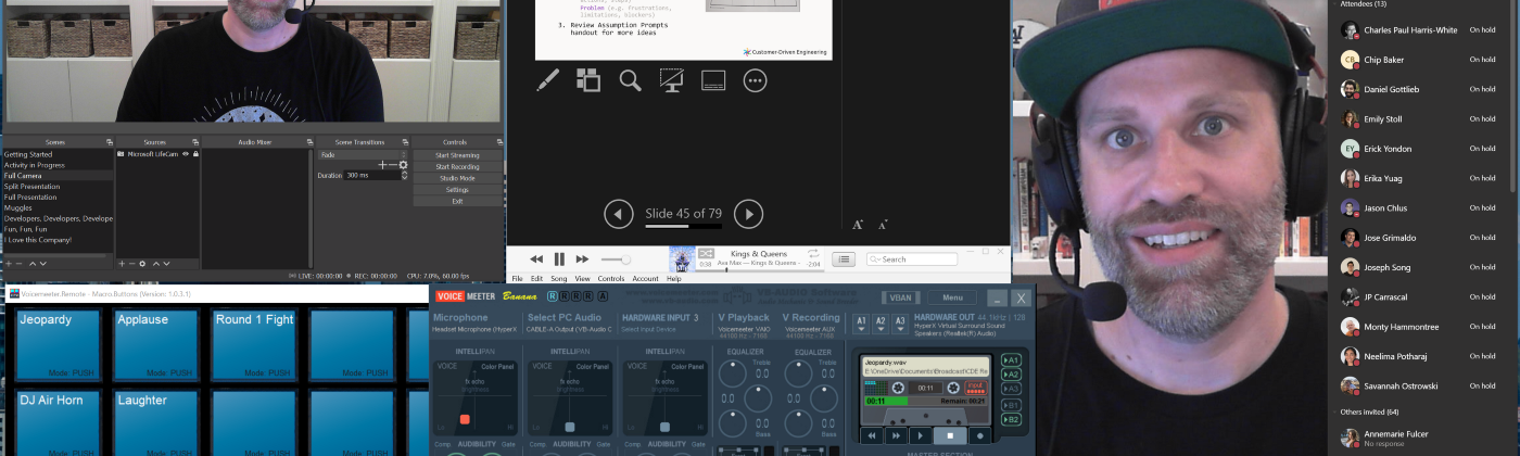 Screenshot showing Travis's window layout while he was running the workshop