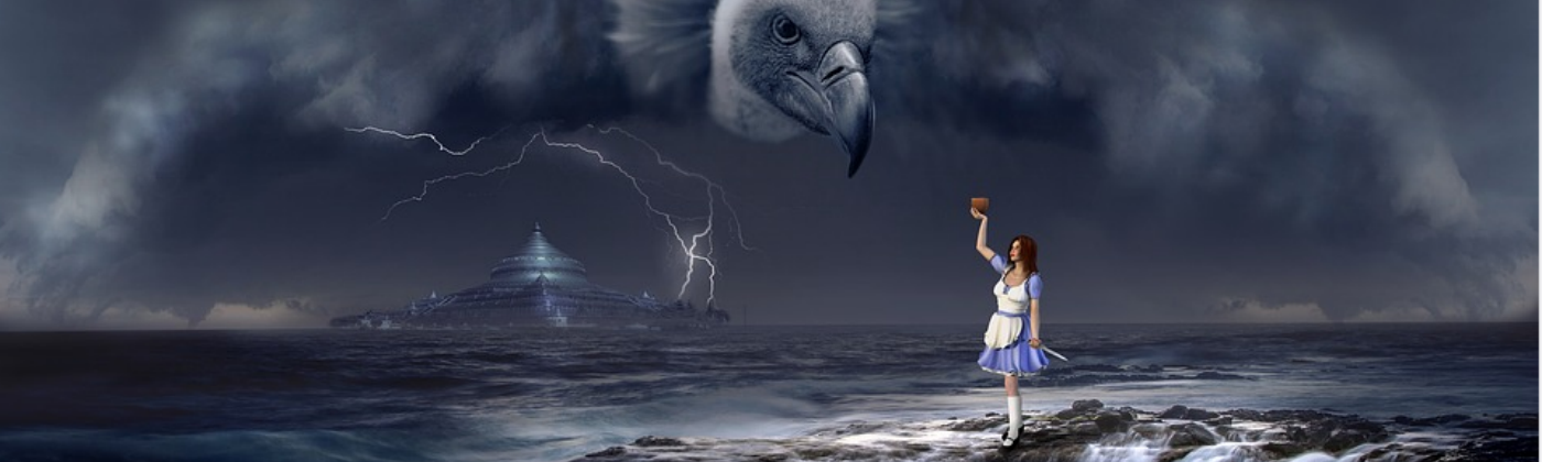 Dark graphic of a young woman standing at the edge of a well in an ocean as she holds up a bowl to a ghostly vulture