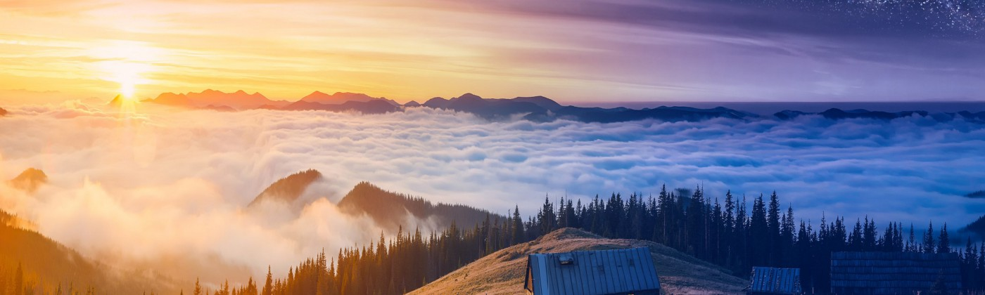 Scenery of a mountain-top, clouds and house showing morning and night contrasted.