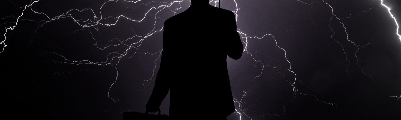 Image of man caught in thunderstorm