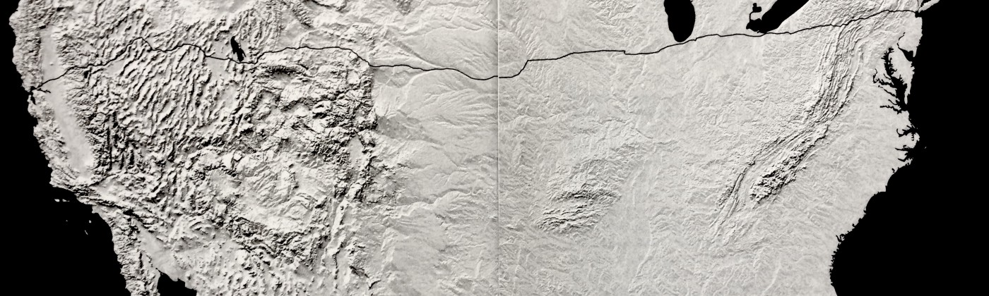 A black and white topographic map of North America. The jagged line of I-80 is drawn across the map.