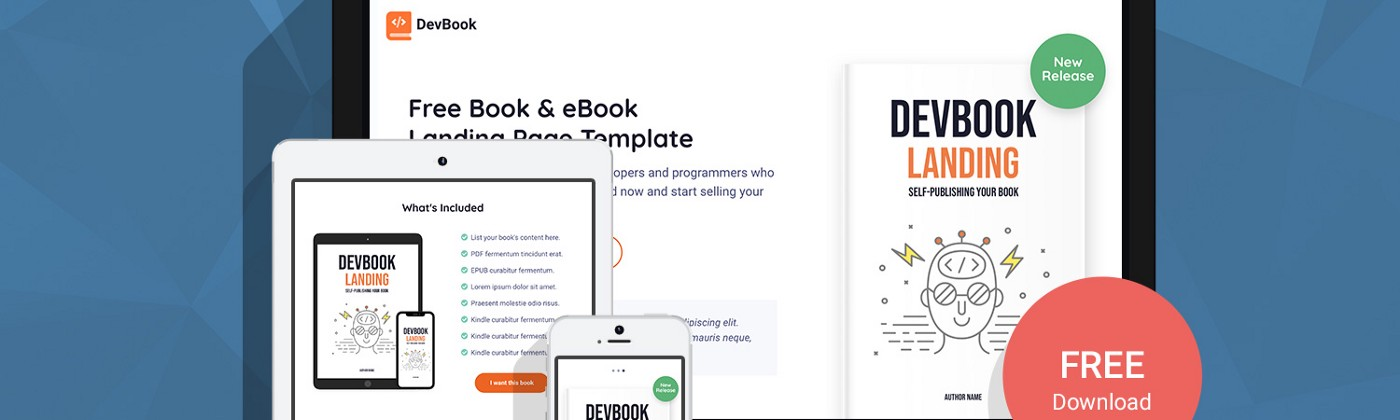 DevBook — Free Book & eBook Landing Page Template For Developers