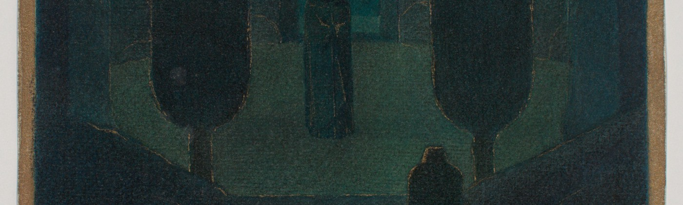 Cloaked Figures in a Dark Garden, possibly a stage set design, by the artist Herbert E. Crowley.