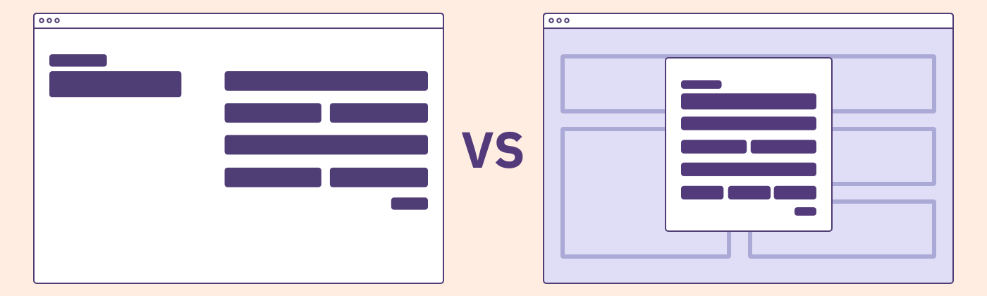 A side-by-side wireframe of a form as a standalone page versus as a modal on top of a page.