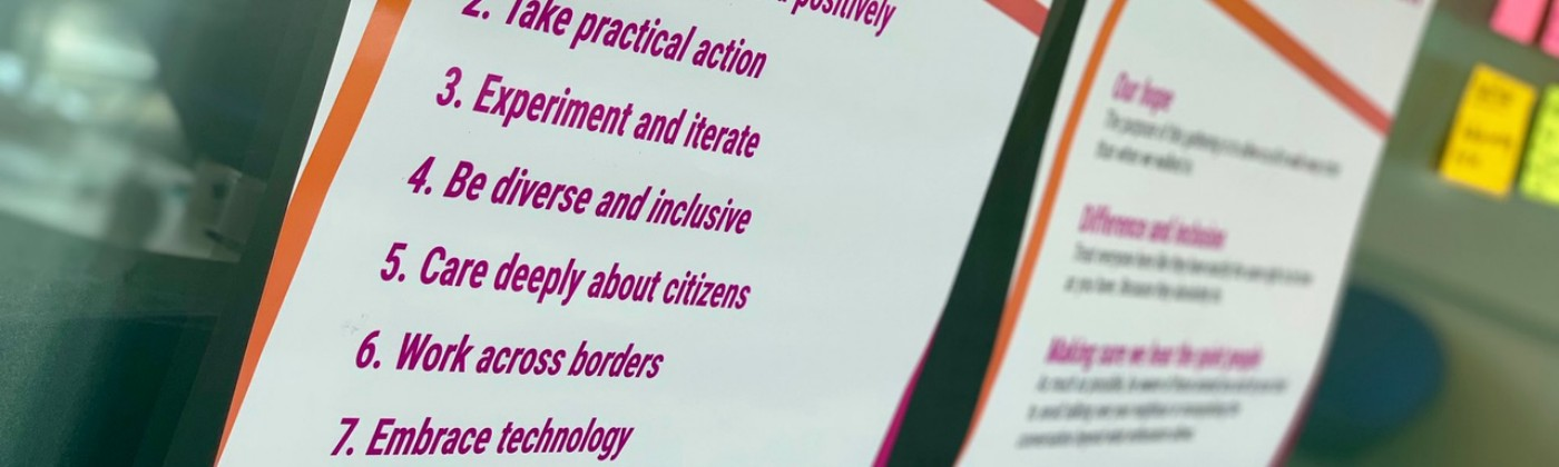 Poster of the OneTeamGov principles — https://www.oneteamgov.uk/principles