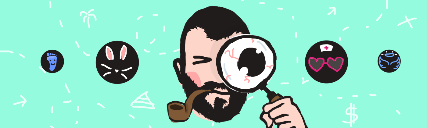 Badly drawn illustration of a floating head with magnifying glass and a smoking pipe