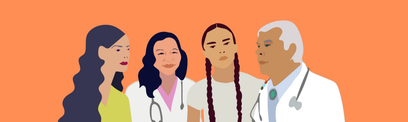 Illustration of four American Indian and Alaska Native doctors and patients.