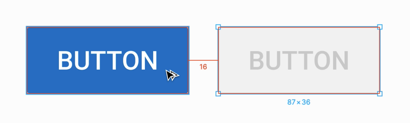 An screenshot of the Figma interface showing the distance between two buttons
