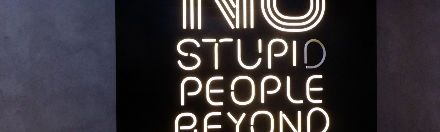 """Black and white neon sign that says """"No stupid people beyond this point"""""""