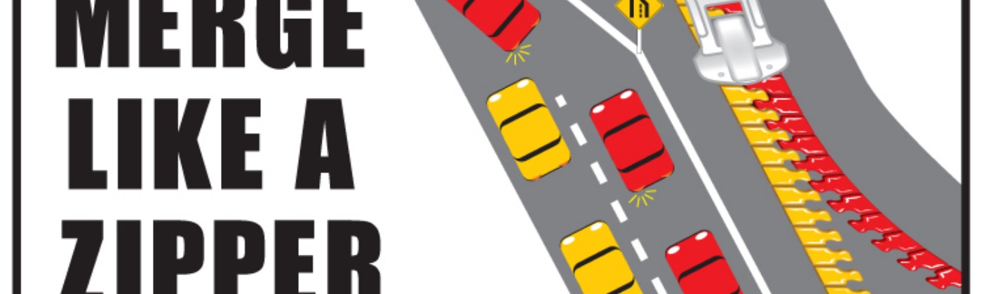 a poster that shows how a yellow lane and a red lane of traffic can alternate, creating a zipper merge