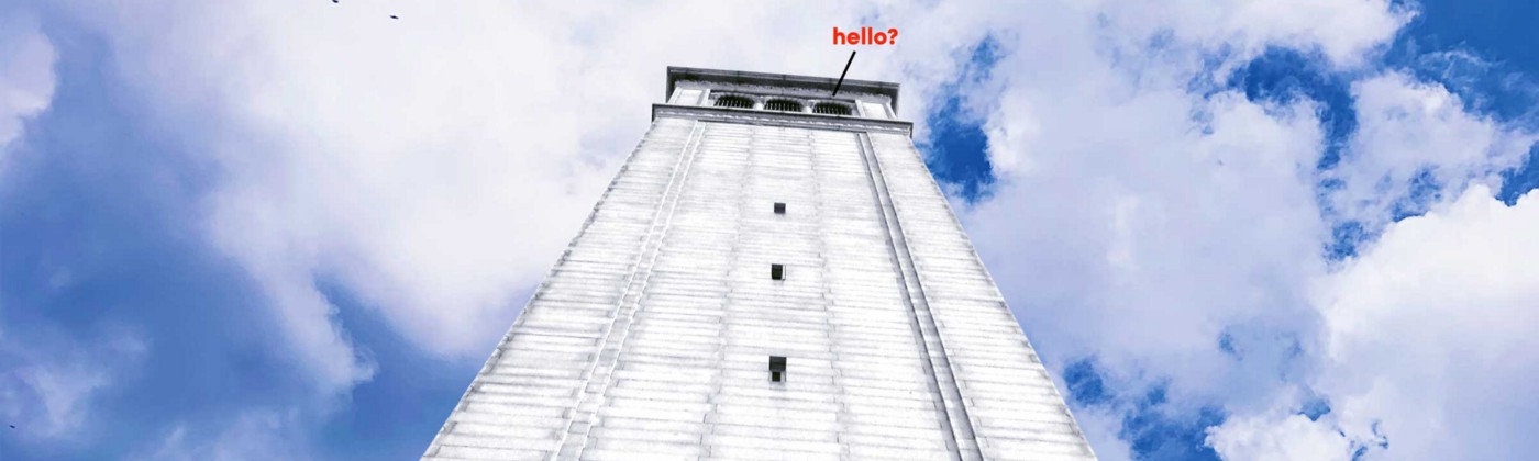 "View looking up at an imposing white tower set against a cloudy blue sky with ""Hello?"" in red text coming from the top right."