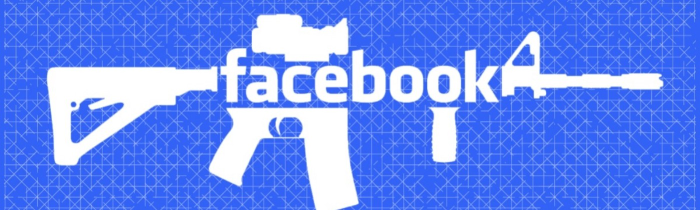the word 'facebook' as the body of an assault rifle