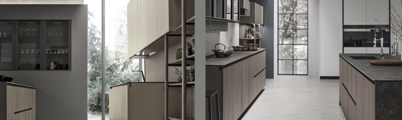 Stosa India: The Galley Line modular kitchen design in Natural and Aliant