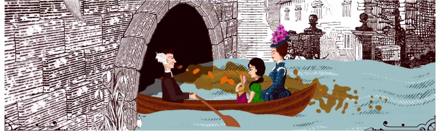 An illustration of Alice being rowed along the river to explore Oxford's sewers.