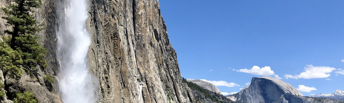 The raging water of Yosemite Falls tumbles over the sheer granite cliff. Half Dome towers in the background.