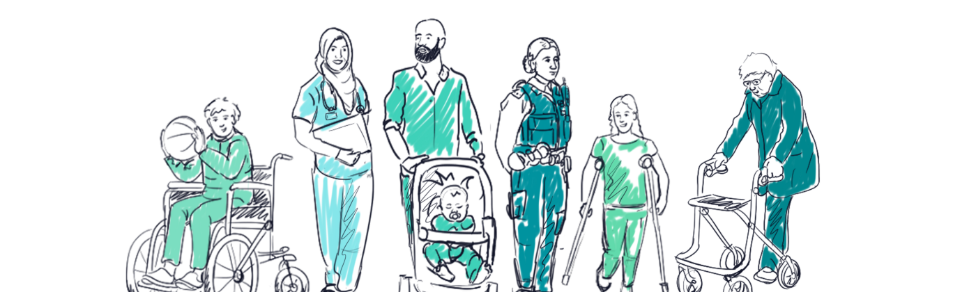 Sketched illustration of different users with vulnerabilities that should be considered, for example wheelchairs or crutches.