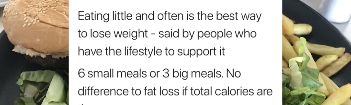 A statement about meal sizes on a picture background of burger and chips