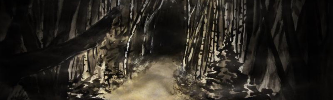 Watercolour painting of the author walking through dark birch woods, the centre illuminated by glowing yellow torchlight.