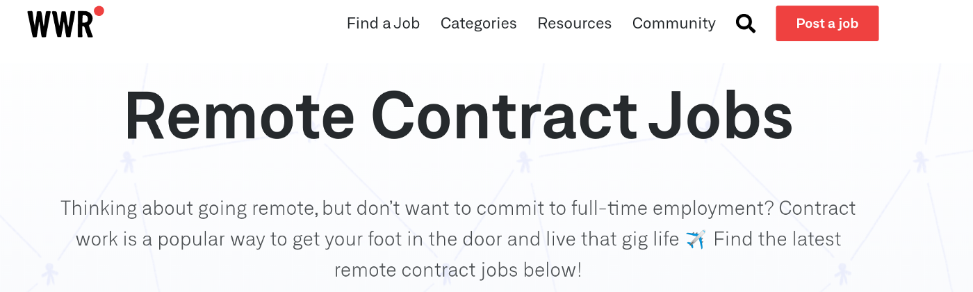 Find remote contract jobs at We Work Remotely